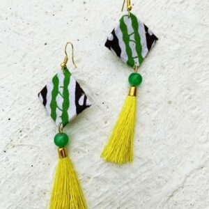 Hand-made Square Shape Green-White-Black Shade Color Earring | smiarts