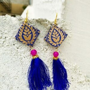 Hand-made Square Shape Golden-Blue Color Earring