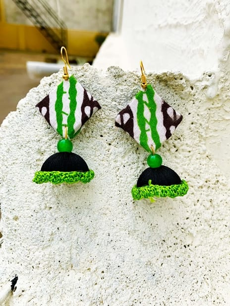 Hand-made Square Shape White-Black-Green Color Jhumka Pattern Earring | smiarts