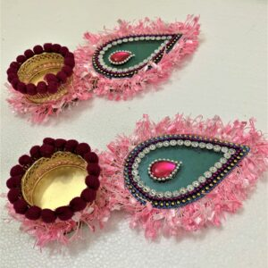 Multi Color Leaf Shape Diya | Smiarts