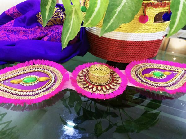 Folding Pink Color Handmade Diya