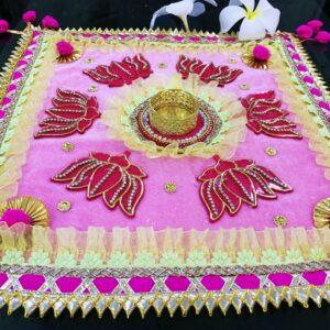 Lotus printed pink color ready-made rangoli | smiarts