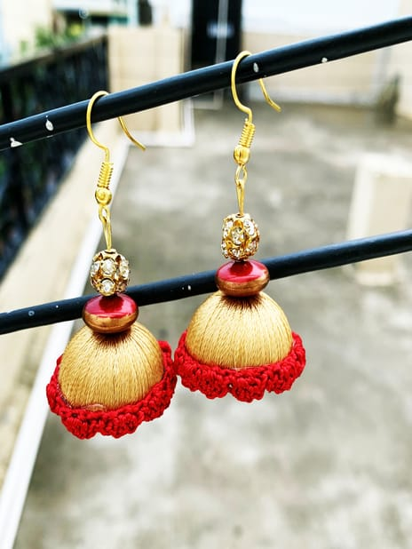 Jhumka Pattern Earring Golden-Red Color | Smiarts