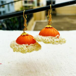 Jhumka Pattern Earring Orange-White Color | Smiarts