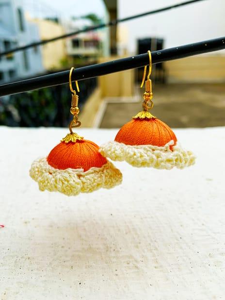 Jhumka Pattern Earring Orange-White Color | Smiarts