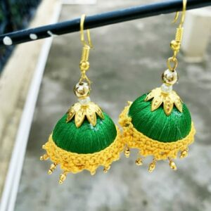 Jhumka Pattern Earring Green-Golden Color