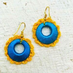 Ring Shape Blue-Yellow Color Handmade Earring | smiarts