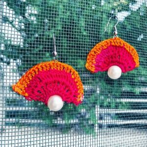 Orange-Pink Color With White Stone Earring | smiarts