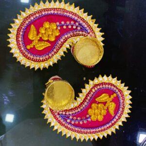 Leaf Shape Flower Printed Diya | Smiarts