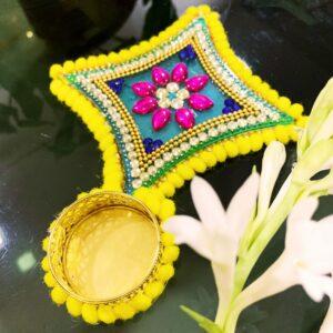 Star Shape Pink Flower Printed Handmade Diya | Smiarts