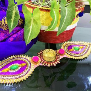 Folding Multi Color Diya With Green Stones | Smiarts
