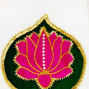 Smiarts Handicraft Decorative Lotus Shape Rangoli Set (Pink , Green) | Smiarts