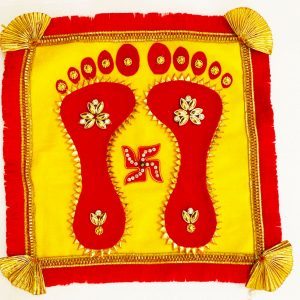 Smiarts Handicraft Decorative Laxmi Charan Rangoli Set (Red , Yellow) | Smiarts