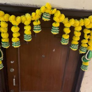 Smiarts Artificial Marigold Fluffy Flowers Garlands Door Toran /Door Hanging for Decoration (Yellow & Green) | Smiarts