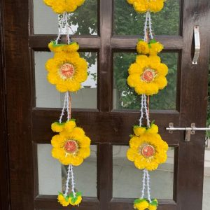 Smiarts Artificial Marigold Fluffy Flowers Garlands Door Toran /Door Hanging for Decoration (Yellow) | Smiarts