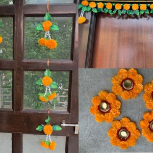Smiarts Artificial Marigold Fluffy Flowers Garlands Door Toran /Door Hanging for Decoration/Rangoli For Floor (Orange & Green) | Smiarts
