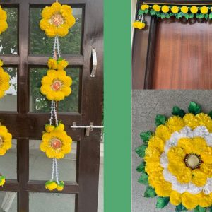Smiarts Artificial Marigold Fluffy Flowers Garlands Door Toran /Door Hanging for Decoration/Rangoli For Floor (Yellow & Green) | Smiarts