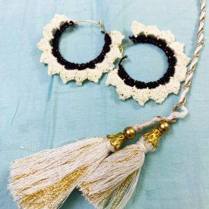 Smiarts Handmade Fancy Earring (White,Black) | Smiarts