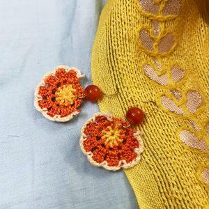 Smiarts Handmade Fancy Flower Shape Earring (White,Brown) | Smiarts